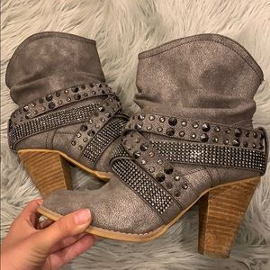 Dark grey studded wedge booties